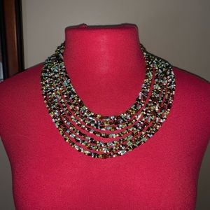 Multi-Strand Seed Beaded Necklace